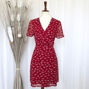Madewell Faux Wrap Seattle Floral Red Dress